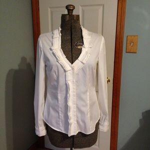 White House Black Market white cotton blouse sz 6